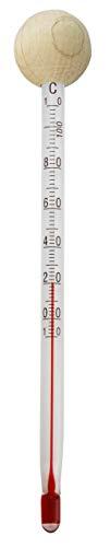 Lantelme Tee Tassen Thermometer Glas mit Holzkugel Teetassenthermometer Teetasse Teewasser Glasthermometer 4188