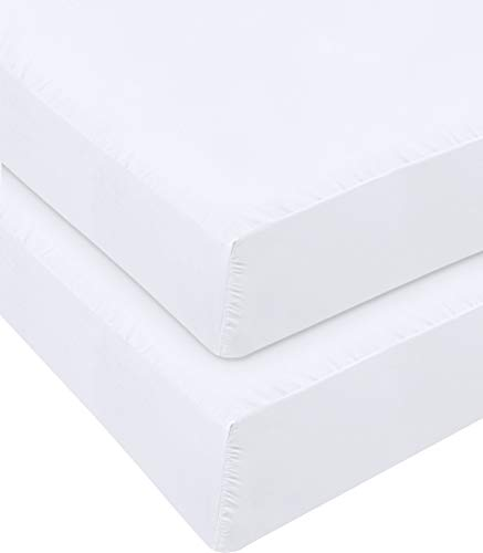 Utopia Bedding Fitted Sheet - Pack of 2 Bottom Sheets - Soft Brushed Microfiber - Deep Pockets, Shrinkage & Fade Resistant - Easy Care (Queen, White)