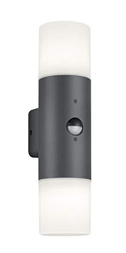 Trio Leuchten Hoosic 222260242 Außen Wandleuchte, Aluminium, Anthrazit/Weiß, Bewegungsmelder