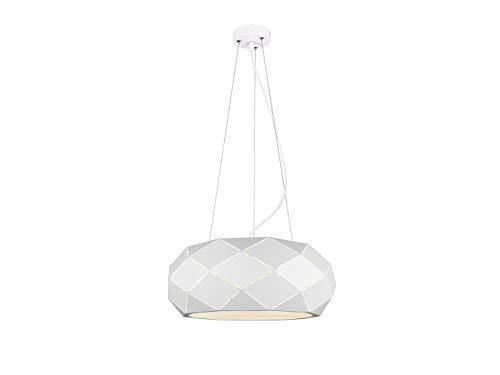 Geometrische led-hanglamp met lasergesneden metalen kap wit mat 50 cm