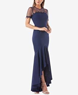 JS COLLECTION Womens Navy Sheer Pleated 3/4 Sleeve Crew Neck Full Length Hi-Lo Prom Dress US Size: 6