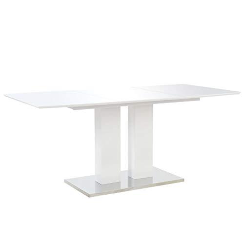vidaXL Esstisch Rechteckig Esszimmertisch Küchentisch Tisch Speisetisch Esszimmer Küche Hochglanz Weiß 180x90x76cm MDF Pulverbeschichteter Edelstahl