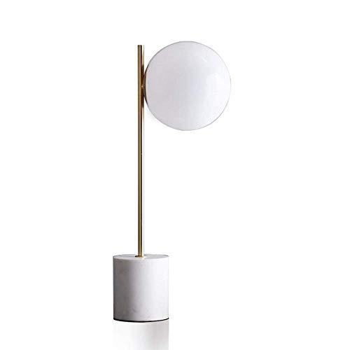 HtapsG Lámpara Escritorio Lámpara de Mesa Redonda esmerilada de Vidrio con Base de mármol Blanco nórdico Simple y Moderno lámpara de Mesa para Sala de Estar 15 * 58 cm