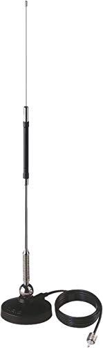 Sirio Mini MAG 27 met magnetische voet diameter 90 mm, CB antenne frequentie 27-27,5 MHz, 50 W (CW) Short Time, Stilo Inox met veer, kantelbaar 180°, hoogte 0,63 m, kabel 3 m, aansluiting UHF (PL25