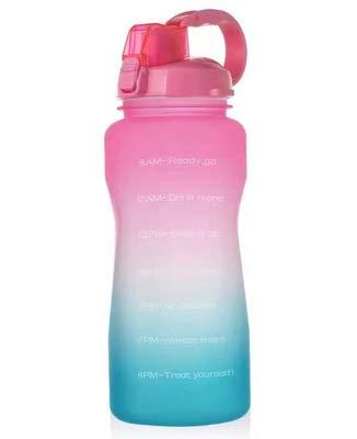 Botella de agua reutilizable con tapa abatible, botella de agua Bpa a prueba de fugas con pajita, botella de agua de gran capacidad de 2,2 litros, adecuada para entusiastas de los deportes y el fitn