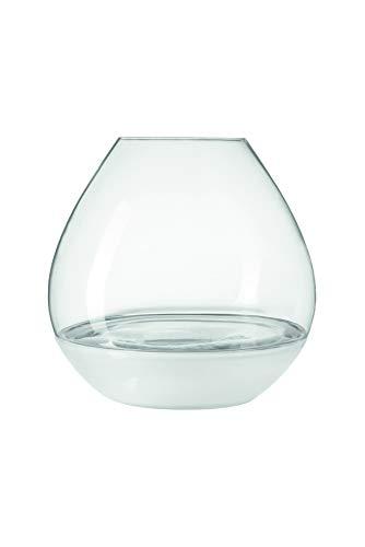 Leonardo Milano Windlicht mit Schale, handgefertigter Teelicht-Halter, Kerzen-Halter aus Glas, 2er Set, Höhe: 313 mm, 012981
