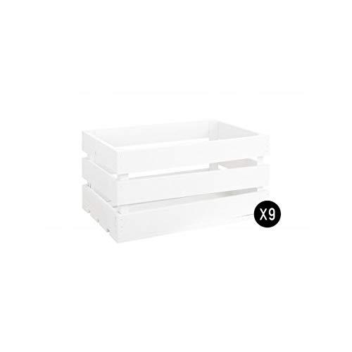 Decowood - Pack 9 Cajas Grande en Madera de Pino, Blanco - 49 x 30,5 x 25,5 cm