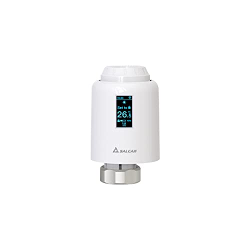 SALCAR Cabezal Termostático Inteligente TRV602, Pantalla OLED Termostato para Radiador, Control de Calefacción InteligenteTermostato Programable Tuya ZigBee