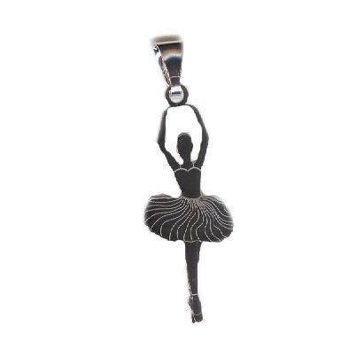 MAGICMOON Silberfarbener Ballerina Anhänger aus 925er Silber, rhodiniert, silberfarben - Mod. VTP10000595