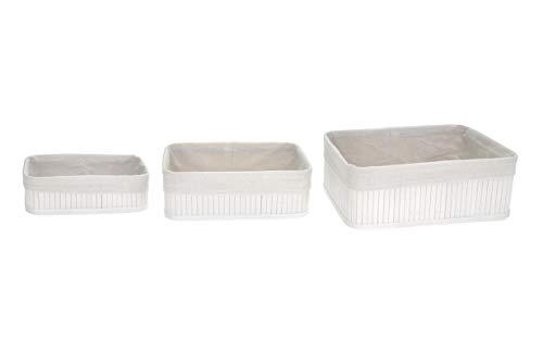 TIENDA EURASIA® Set 3 Cestas de Almacenaje de baño. Ideal para Organizar Tus Productos de una Manera Elegante (Blanco)