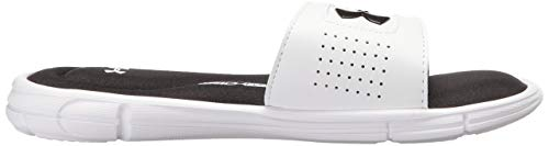 Under Armour Boys' Ignite V Slide Sandal, White (100)/Black, 4