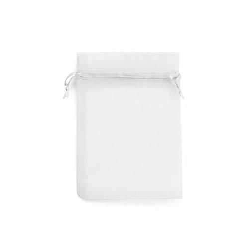 Bolsas de Tela de Organza Transparentes con Cordón de Raso. Diferentes Tamaños y Colores. Múltiples Usos: Decoración, Fiestas, Bodas para Joyas. (Blanco, 10x15 120 uds)