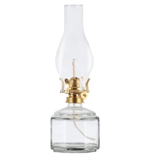 DNRVK Large Clear Oil Lamp Lantern Chamber Kerosene Lamp Classic Vintage Glass Oil Lamps for Indoor Use Decor Lighting