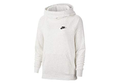 Nike Sportswear Essential Women's Funnel-Neck Fleece Pullover Hoodies BV4116 (X-Large, Birch Heather)