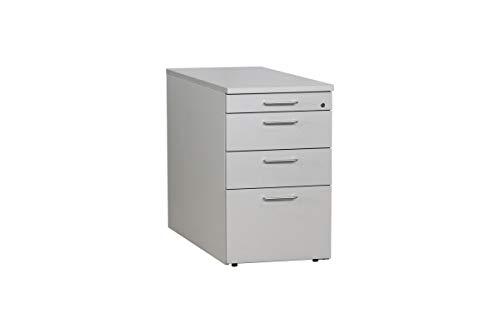 VS Büromöbel Standcontainer Bürocontainer Anstellcontainer Mit Schubladen Und HR-Auszug In Dekor Silbergrau Geprüft Und Gebraucht, 72,5x44,5x80cm (Zertifiziert und Generalüberholt)