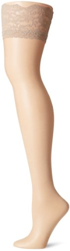 Berkshire Women's Plus-Size Shimmers Ultra Sheer Lace Top Thigh High Stockings 1340, Candlelight, A-B