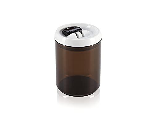 Leifheit Fresh and Easy Kaffee Vorratsbehälter, 1, 4 L, rund, luft- und wasserdichte Vorratsdose mit patentierter Einhand-Bedienung, Frischhaltedose, stapelbare Aufbewahrungsboxen, Kaffeebohnen