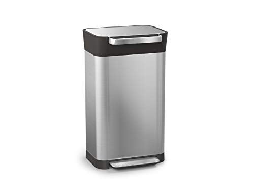 Joseph Joseph 30030 Intelligent Waste Titan Trash Can Compactor, 8 gallon / 30 liter, Stainless Steel