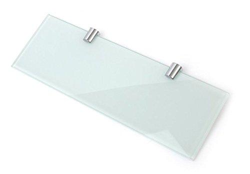Repisa de cristal reforzado con 2 soportes cromados, 300 x 100 mm, grosor de 6 mm, color blanco