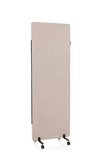 hjh OFFICE Mobile Akustik Trennwand einzeln 177 x 60 cm FLEXMIUT Stoff Taupe Raumteiler Mittelpanel mit Rollen & Gleiter 891003