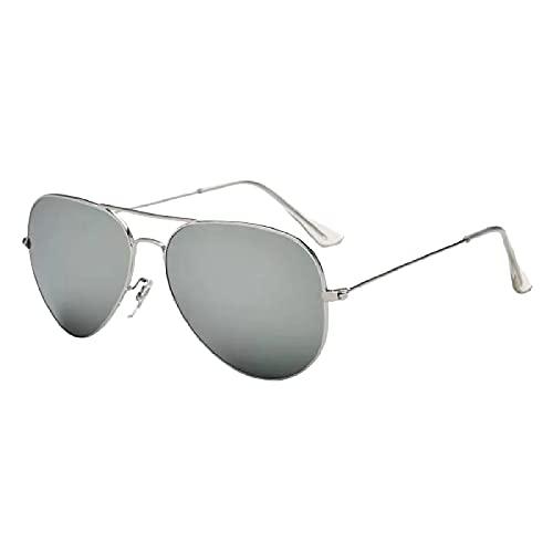 GYYOU Gafas de aviador polarizadas clásicas para hombre y mujer, cristal de cristal, protección UV 100%, montura ligera ms3025, C10 Silver Frame Mercury Sheet,