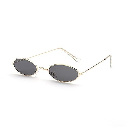 NJJX Gafas De Sol Retro Ovaladas Pequeñas, Gafas De Sol Vintage Para Hombres Y Mujeres, Anteojos Con Luz Anti-Azul, Gris Dorado