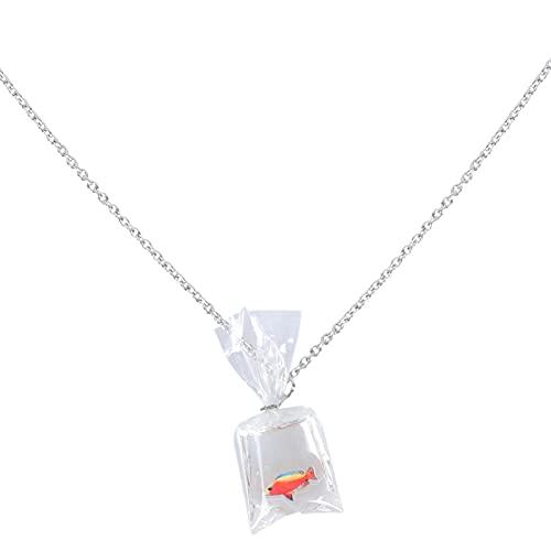 Happyyami Collar Adorrable de Resina Pez Dorado Bolsa de Agua Collar Divertido Pez en Bolsa de Agua Collar Colgante para Mujeres Niños