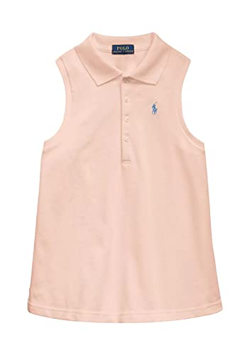 Polo Ralph Lauren Girl's Sleeveless Polo T-Shirt (Deco Coral/French Blue, Small (7))