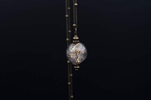 Collana lunga con ciondolo in vetro e soffioni e foglie d'oro, semi di tarassaco, dente di leone - bijoux artigianali - gioielli naturali