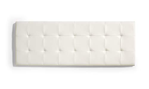 ECCOX - Cabecero de Cama Capitone a Cuadros de Polipiel - Cabezal Tapizado en Polipiel con Acolchado de Espuma y Refuerzo Trasero - Color Blanco Efecto Granito - 112 cm para Camas de 105 cm