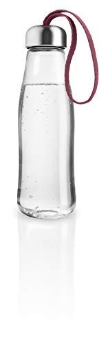 Botella de agua EVA SOLO de 0,5 l, cristal de borosilicate, acero inoxidable, silicona, poliéster, granate