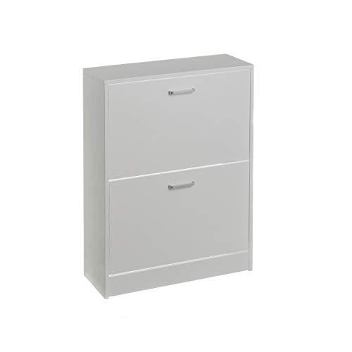 Mueble Zapatero de 2 Puertas de Madera Blanco clásico Basic para Dormitorio - LOLAhome