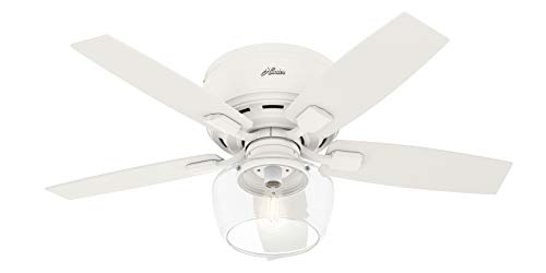 "Hunter Bennett Low Profile Indoor Ceiling Fan with LED Light and Remote Control, 44"", Matte White"