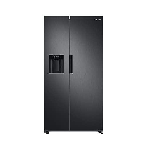 Samsung RS6JA8811B1/EG Side-by-Side Kühlschrank mit SpaceMaxTechnologie, 409 Liter Kühlschrankvolumen, 225 Liter Gefriervolumen, 351 kWh/Jahr, Premium Black Steel