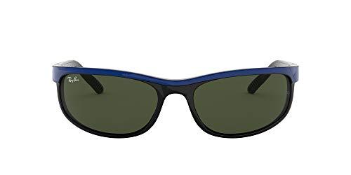 Ray-Ban Men's RB2027 Predator 2 Rectangular Sunglasses, Top Blue On Black/Green, 62 mm