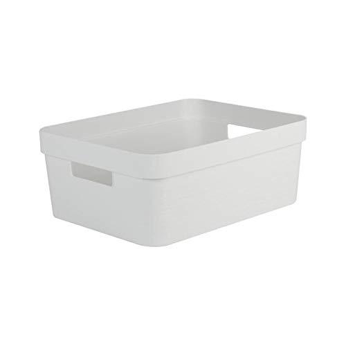 EDA PLASTIQUE Boîte de Rangement Decor Stone Blanc - 12 L