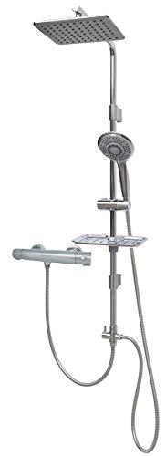 Duschsystem mit Thermostat Regendusche Duschstange 100cm mit Überkopfbrause höhenverstellbare Wandhalterung Chrom