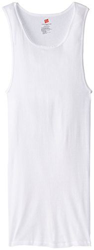 Hanes Men's Tall Man Ribbed Tank Top (Pack of Three), White, Size Large Tall