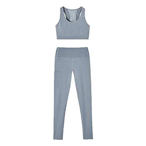 Delisouls Sujetador deportivo y pantalones de yoga, traje deportivo para mujer, 2 piezas, sin mangas, acolchado, parte superior alta y cintura sin costuras con bolsillos laterales, secado rápido M-3XL