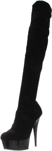 Pleaser DELIGHT-3002, Damen Over-Knee Stiefel, Schwarz (Schwarz (Blk Str Velvet/Blk)), 42 EU (9 Damen UK)