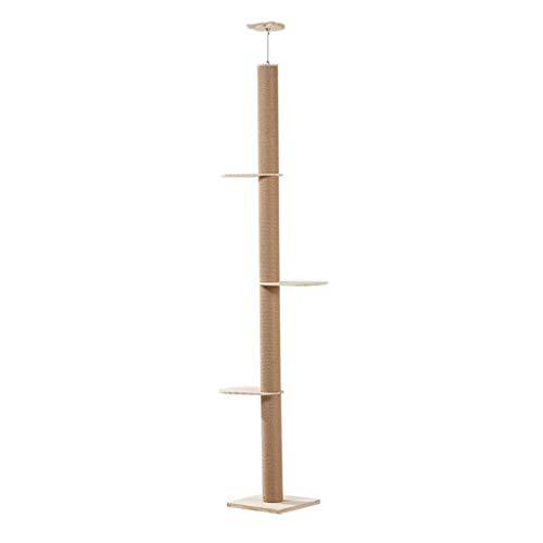 ZHNA-Árboles para Gatos Columpio Gato, Escalada Centro de Actividades, de Piso a Techo del árbol del Gato, Ajustable Altura 255-270cm, Beige