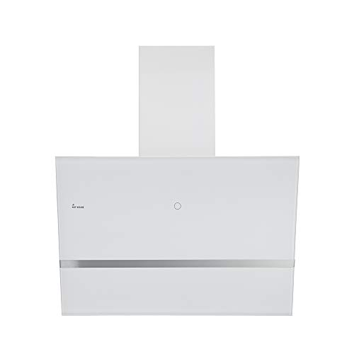KKT KOLBE Kopffreie Dunstabzugshaube/Wandhaube / 80cm / Edelstahl/Weißes Glas/Extra-leise / 9 Stufen/LED-Beleuchtung/TouchSelect Sensortasten/Nachlaufautomatik / EASY809W
