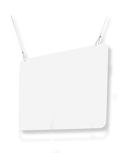 Pantalla Protección Colgante 100x75cm - Fabricada en PET Policarbonato Transparente - Mampara Colgante Transparente para Bares, Supermercados, Farmacias, Gasolineras y Tiendas