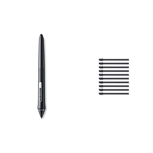 Wacom Pro Pen 2 (Kp504E), Compatible Con Intuos Pro, Cintiq, Cintiq Pro & Mobilestudio Pro & Ack22211 Kit 10 Punte Standard Per Pro Pen 2, Nero