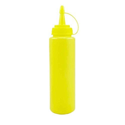 QAWS Flasche Gewürzspender Condiment Ketchup Quetschflasche Kappe Marmelade Tomatensalat Squeeze Flasche Sauce Flasche Schokoladensauce 480Ml Gelb