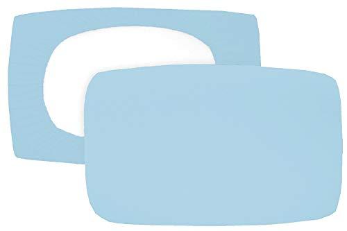 Home Edition 2er Pack Spannbezug für Nackenstützkissen Baumwolljersey (mit Elasthan) 36x50 bis 36x60 cm (hellblau)