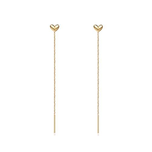 Heart Threader Earrings Sterling Silver Long Threader Drop Heart Earrings for Women Gift for Christmas Day, Valentine's Day, Birthday (gold)