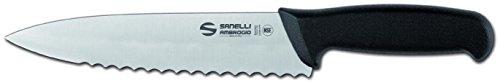 Sanelli Ambrogio Supra Trinciante Cuoco, Lama Dentata, 20 cm, Acciaio Inossidabile, Grigio