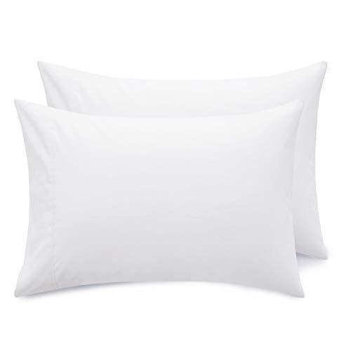Bedsure Federe Cuscino Letto Matrimoniale - Federe Cuscino Bianco 50x75 cm con Chiusa, Set di 2 Pezzi con Chiusura a Busta,Federe in Microfibra