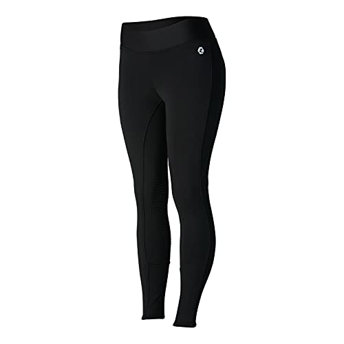 Product Image 1: HORZE Active Women's Winter Fleece-Lined Silicone Knee Patch Equestrian Riding Tights – Black – 24